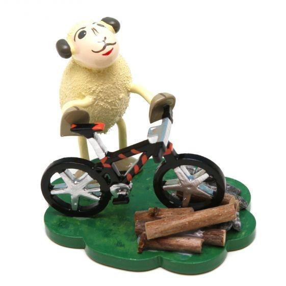 """Schaf """"Bikey"""", mit Fahrrad"""