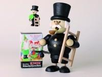 Geschenkset Mini-Räuchermann Schornsteinfeger 12,2 cm groß + 1 Baumbehang + 1 Pack Mini-Räucherkerze