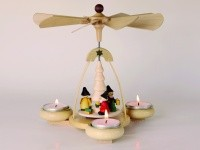 Teelichtpyramide natur Weihnachtswichtel für 3 Teelichter, Höhe 19 cm