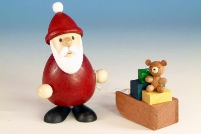 Weihnachtsmann mit Schlitten farbig, modern, BxH 5,1cmx9,3cm