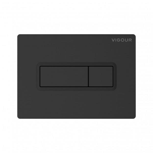 Betätigungsplatte TEES matt-schwarz für 2-Mengen-Spültechnik VIGOUR