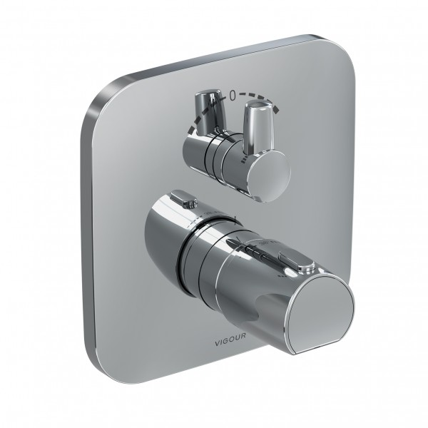 Farbset Thermostat derby für VIGUPK mit Mengenregulierung u. Umst. verchromt VIG