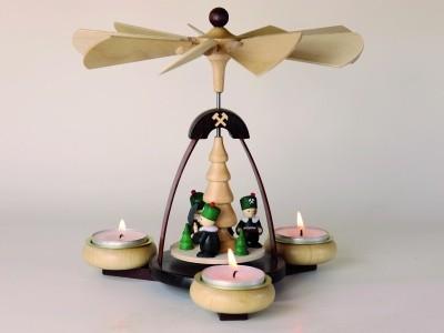 Teelichtpyramide dunkelbraun & Tüllen natur Bergleute für 3 Teelichter Höhe 19 cm